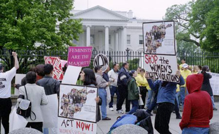 More than 100 supporters of RAWA Rallied in Lafayette Park, across from the White House on April 28