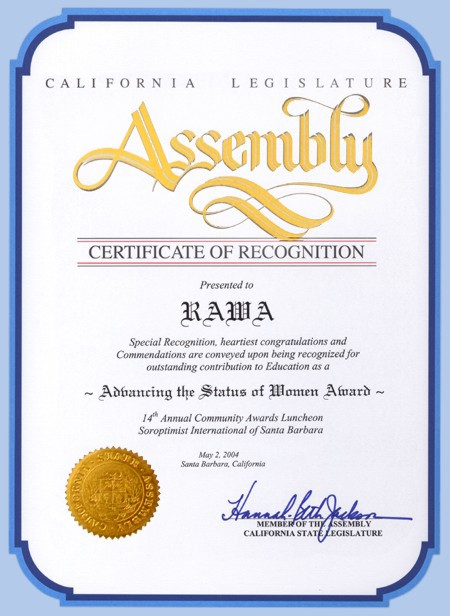 A Certificate of Recognition from the California Legislature Assembly to RAWA