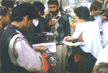 RAWA members selling their publications