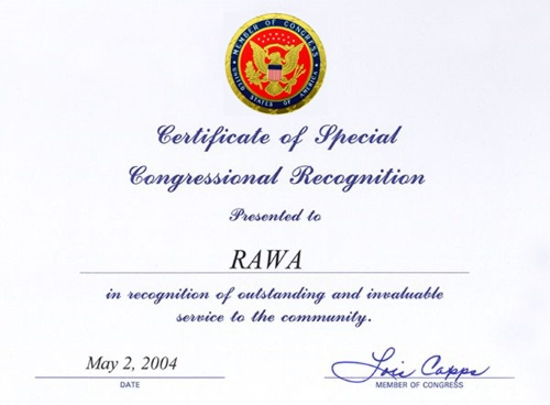 Certificate of Special Congressional Recognition from the U.S. Congress to RAWA