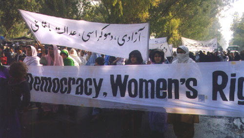 At Peshawar Mor, a  large number of Afghan women joined the protest rally.