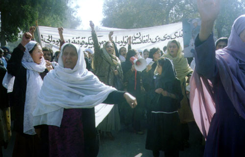 The demonstrators were chanting slogans against Taliban and Jehadi fundamentalists.