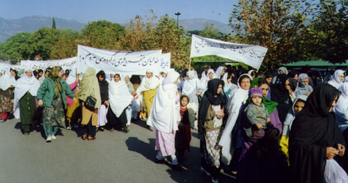 In addition to RAWA members and activists, a large number of Afghan women from different cities in Pakistan and some from nearby provinces in Afghanistan, participated in the demonstrations.