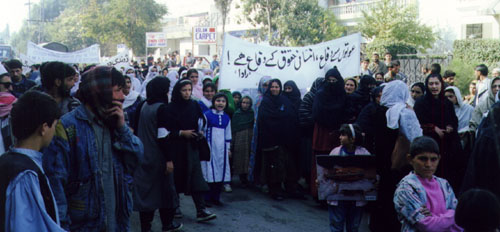 After an hour sit-in in front of UN office the participants went to Afghans residential area, Peshawar Mor and marched through the streets.