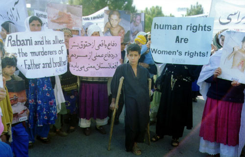 The demonstrators were holding banners and placards, inscribed with slogans against Taliban and demanding of the United Nations to take note of violation of women rights.