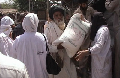 Over 500 flour bags were distributed by RAWA