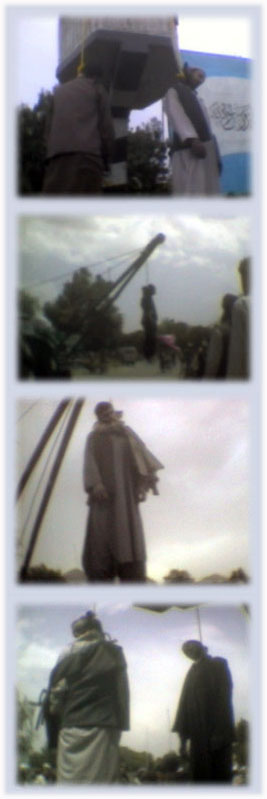 4 were hanged by Taliban in kabul. Photos from a video film of RAWA by hidden camera