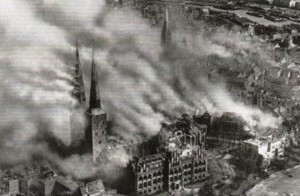 Luebeck, Germany, after RAF bombs, March 1942
