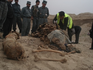 Bodies found from the grave in Mazar-e-Sharif