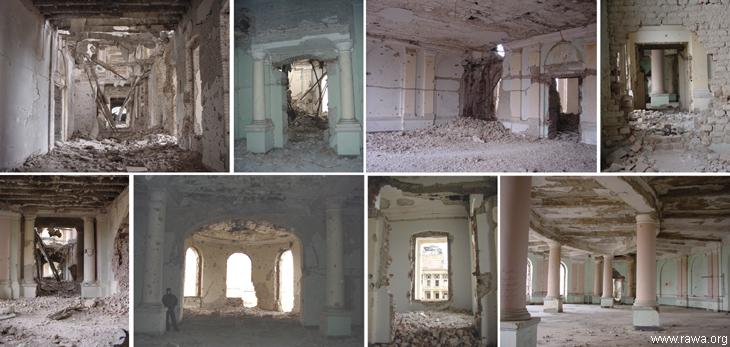 Inside views of Dar-ul-Aman palace in Kabul Oct.2002