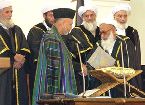 Shenwari and some other dark-minded supreme court judges in the oath ceremony of Hamid Karzai.