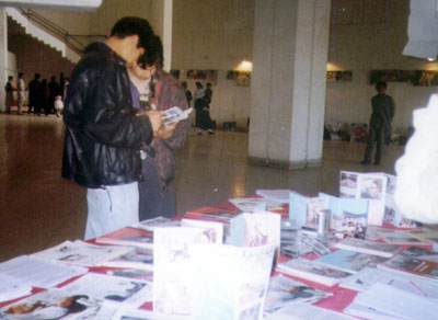 RAWA literature for sell at a corner of the hall