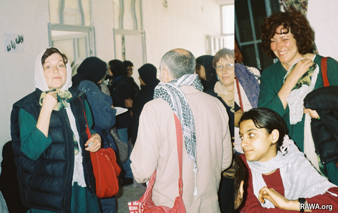 Cristina along with some other Italian supporters visiting RAWA school in a remote part of Afghanistan.