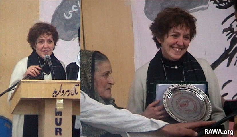 Mar.8,2006: Cristina delivering speech in a RAWA event in Kabul.