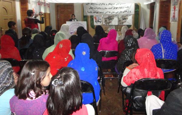 A member of RAWA giving her speech