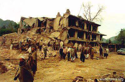 Destruction caused by the civil war in a city of Afghanistan