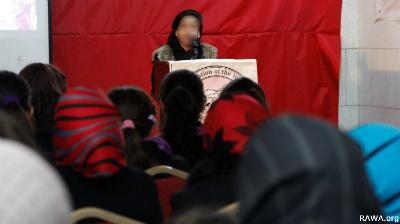 سخنرانی یک عضو جوان «راوا» در محفل سی امین سالروز شهادت مینا