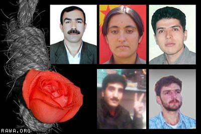 پنج زندانی سیاسی ایران که بوسیله رژیم مستبد اعدام شدند