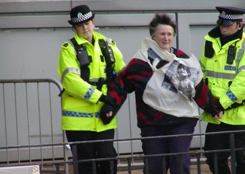 An anti-war protester is arrested