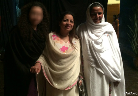 RAWA member with Rashmi Talwar and Mukhtaran Mai in IWD event in Karachi Pakistan