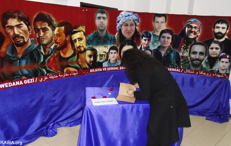 Posters with photos of martyrs from the recent Gezi Park protests and YPG