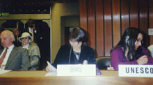 Sehar Saba (center) in the UN commission on HR