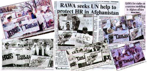 Reflection of RAWA demo in Pakistani papers