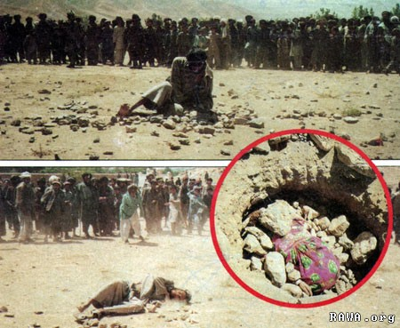 A man and a woman are being stoned to death in Mazar-e-Sharif by criminal forces of Sayyaf.