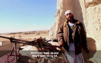 Abdullah, head of a militia in Afghanistan in a film still from a documentary about the 2012 Andar uprising
