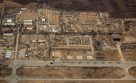 An aerial view of Bagram Airbase near Kabul, Afghanistan