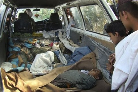 Car carrying Afghan deadbodies