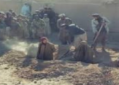 Afghan couple stonning to death by Taliban in Saripul