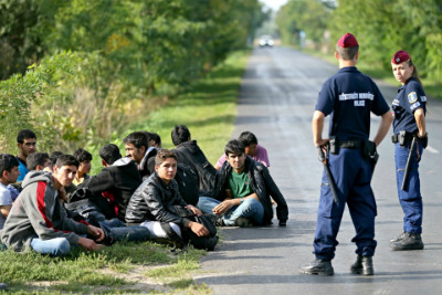 Afghan migrants are detained in Hungary after crossing the border from Serbia