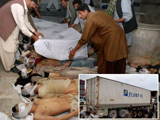 at least 62 Afghans killed in the container.