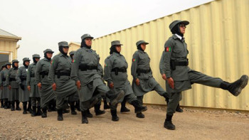 Afghan policewomen march during a graduation ceremony at a police training centre in Herat on March 15, 2012