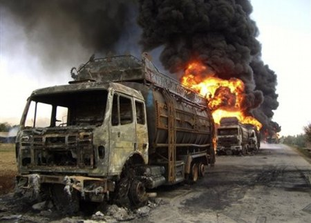 NATO tankers were burn by Afghan protesters
