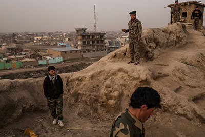 Soldiers at the Bala Hissar military base in Kunduz City, Afghanistan