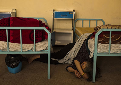 Female drug addicts treated in a facility in Kabul