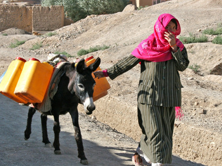 />A woman on her way to fetch water in central Bamyan province, Afghanistan