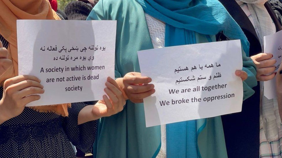 Some women held a protest in Kabul against the restrictions they are facing