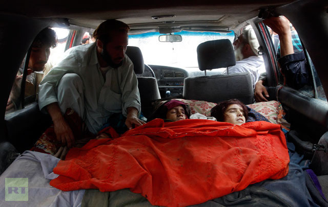 Bodies of women killed by NATO air strikes in Laghman province September 16, 2012