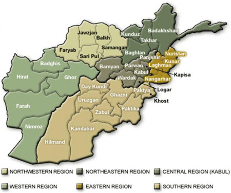 Afghanistan map with regions