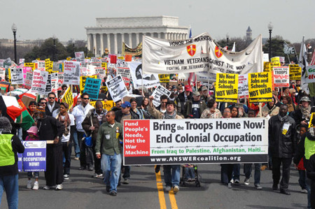 On March 21, 2009 the anti-war movement held its first national  mobilization against U.S. militarism since the inauguration of Barack Hussein Obama