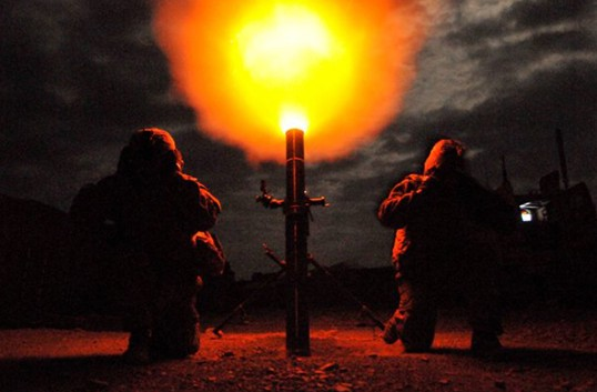 U.S. Army mortar men from the Indiana National Guard