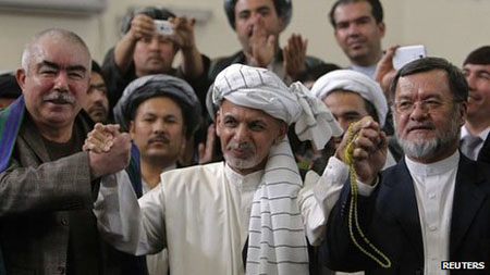 Ashraf Ghani a presidential candidate in Afghanistan whose running mate is an infamous warlord criminal Rashid Dostum