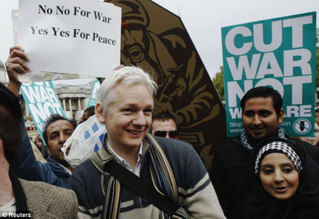 WikiLeaks founder Julian Assange also took to the stage at the London rally