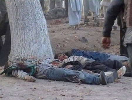 Bodies of children after a suicide attack in Baghlan province, north of Kabul, Afghanistan on Nov. 6, 2007