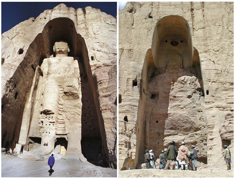 The buddhas of Bamyan in Afghanistan before destruction by Taliban