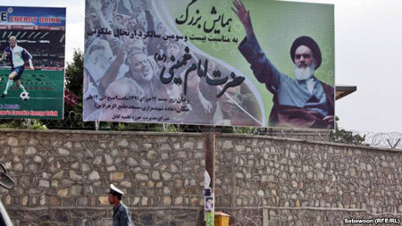 A large billboard in Kabul, erected by the Islamic Shura of Kabul, to mark the anniversary of the death of former Iranian Supreme Leader Ayatollah Khomeini