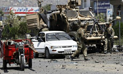 The site of a suicide car bomb attack in Kabul
